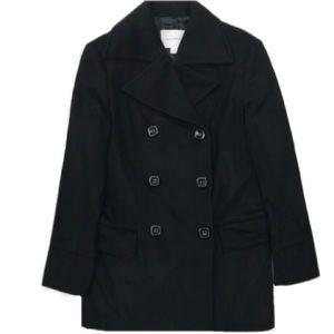 Banana Republic Classic Black Peacoat Coat